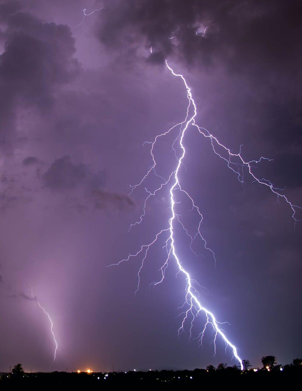 A lightning bolt strikes the ground