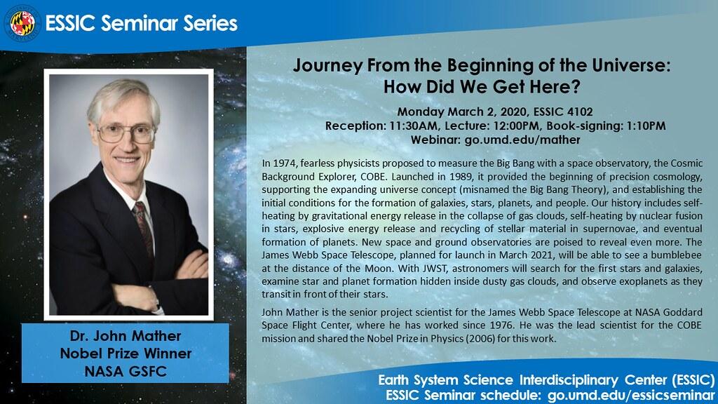 The seminar flyer for Dr. John Mather