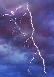 A lightning bolt lights up the sky