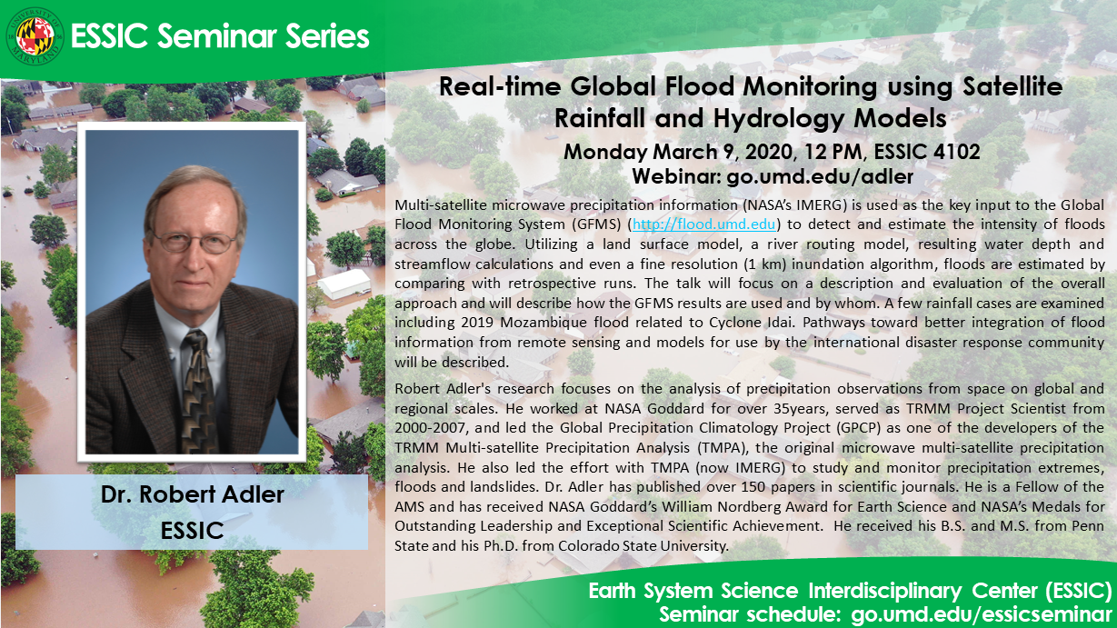The seminar flyer of Dr. Robert Adler. All text is on the site