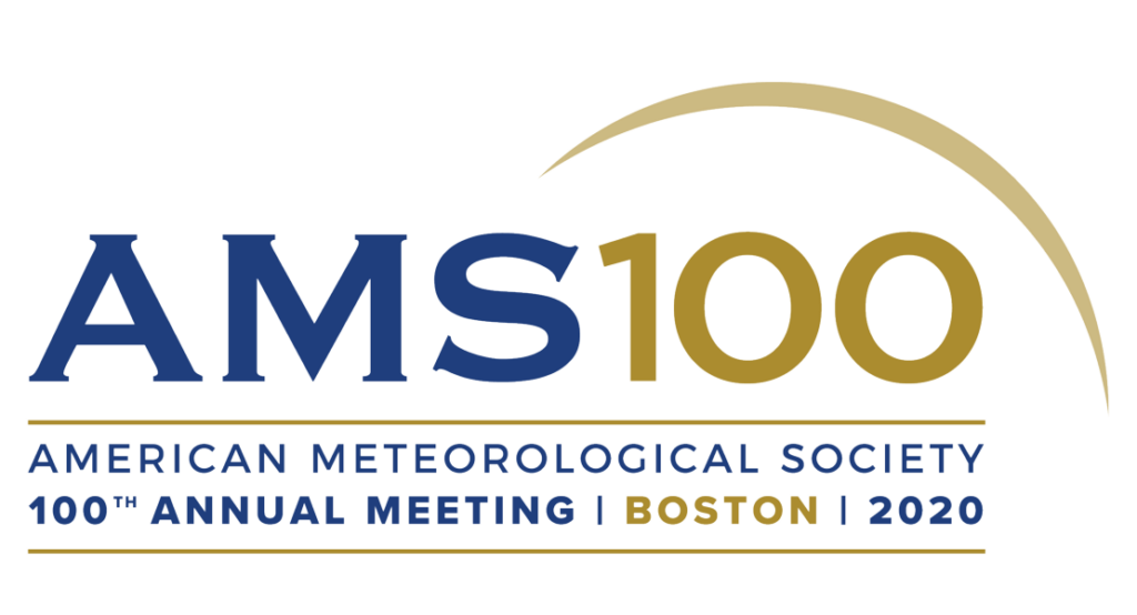 The AMS logo, a stylized typography with blue and gold text