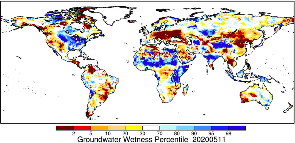 A graph depicting the groundwater wetness percentile across Earth land