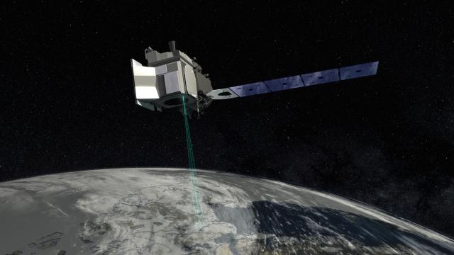 A satellite orbits around the Earth