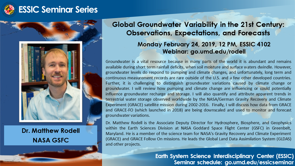 The seminar flyer of Dr. Matthew Rodell. All text is on the site