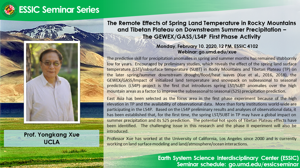 The seminar flyer of Prof. Yongkang Xue. All text is on the site