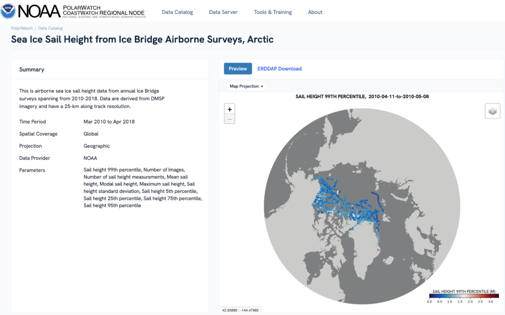 A screenshot of the NOAA PolarWatch page, depicting a globe
