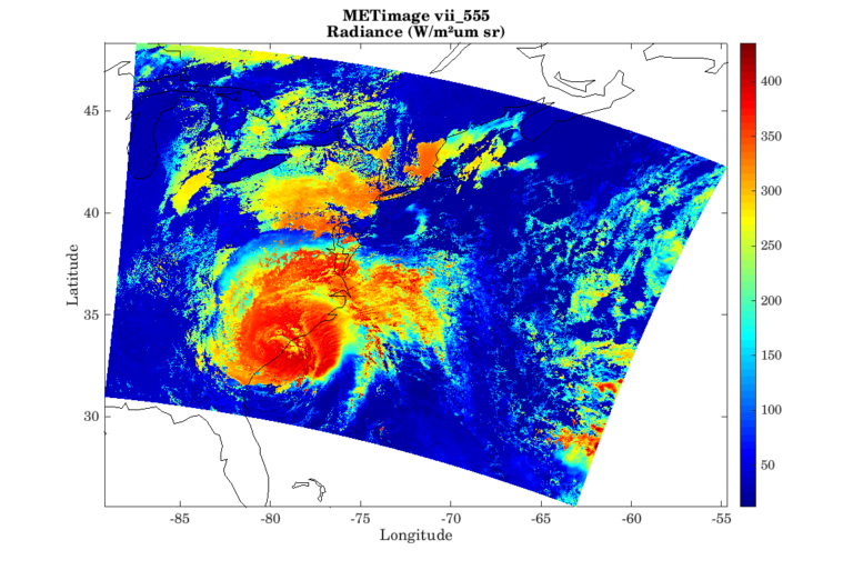 A simulated Hurricane Florence on the METimage vii_555