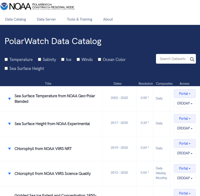 A screenshot of the NOAA PolarWatch Data Catalog with clickable fields and filters