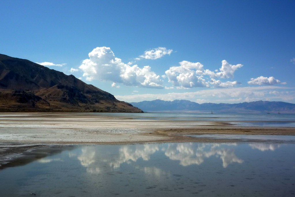 A view of Utah's Great Salt Lake, a shallow but vast water feature