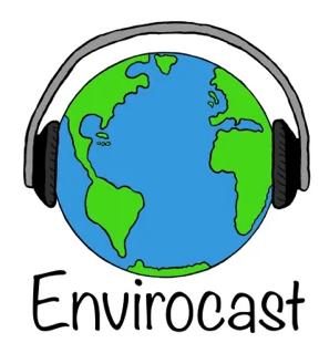 The logo of Envirocast, a cartoon globe wearing a headset