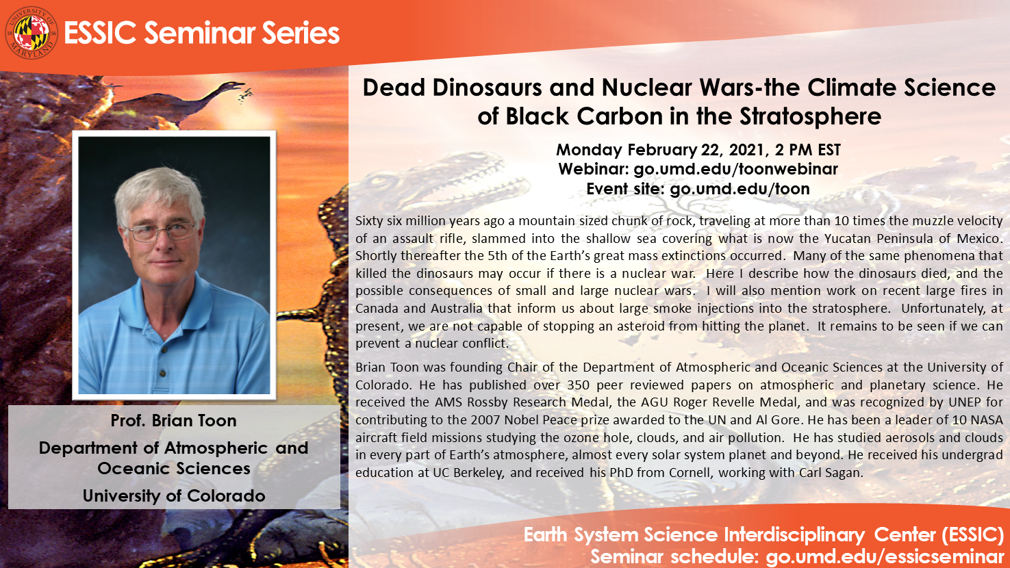 The seminar flyer for Dr. Toon. All text is identical to that on the page