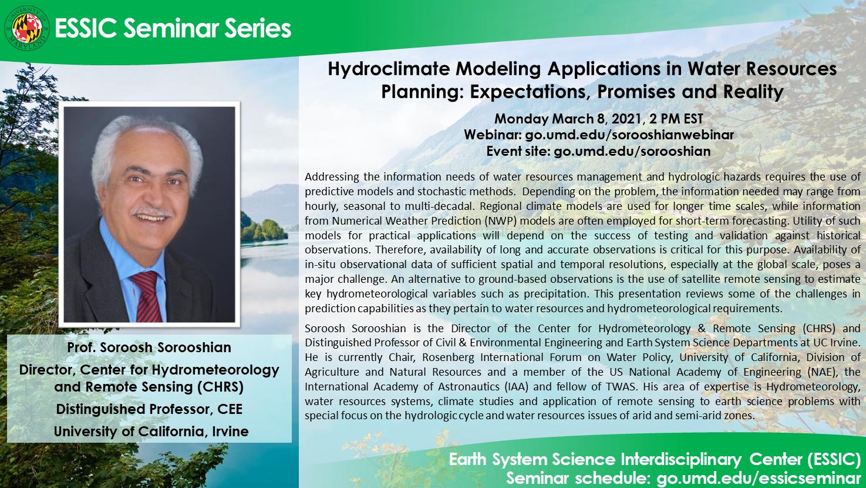 The seminar flyer for Dr. Sorooshian