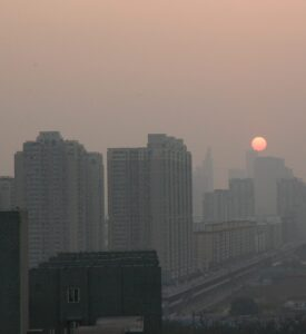 Smog in Beijing, China (Architecture and Buildings) beijing,china,city,cityscape,sunset,buildings