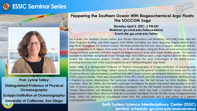 Dr. Lynne Talley's seminar flyer