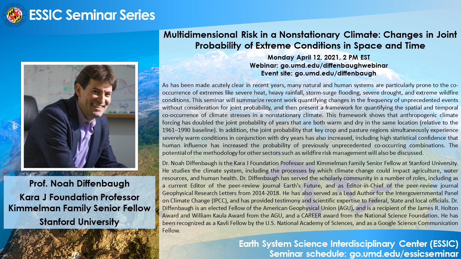 Dr. Noah Diffenbaugh's seminar flyer. All text is on the webpage
