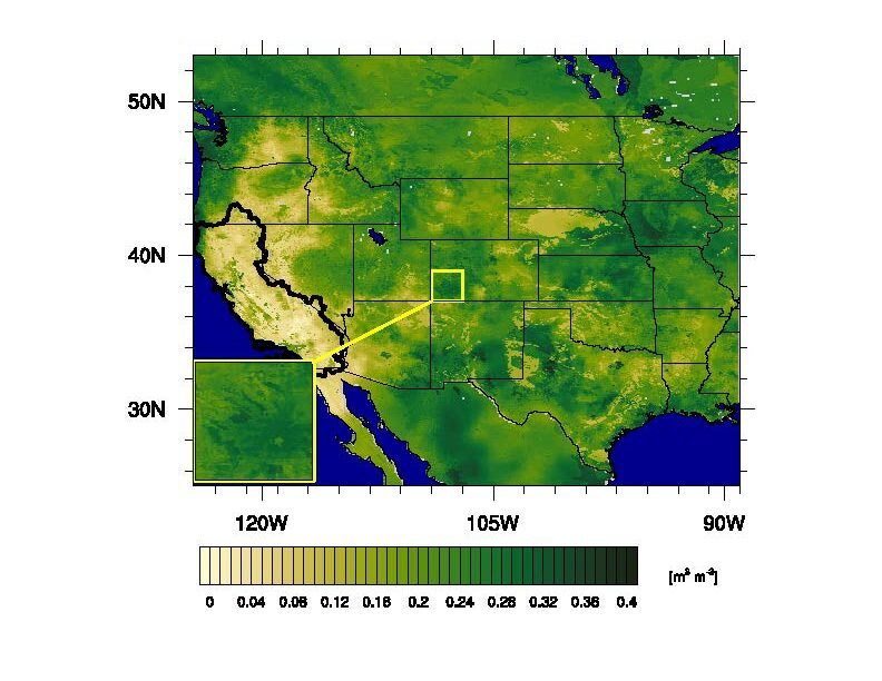 Simulated daily surface (0-10 cm) soil moisture at 00Z on 25 September 2014 over the Western Land Data Assimilation System (WLDAS) domain. The inset map highlights the 1 km grid spacing of WLDAS products, and the black line encompasses the California Region basin.