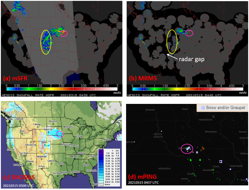 Figure. Snowfall products and report for the snowstorm on March 15, 2021 around 4:30 UTC, (a) satellite-radar merged snowfall rate (mSFR); (b) MRMS radar instantaneous snowfall rate; (c) SNODAS hourly snowfall analysis; (d) mPING crowdsourcing weather report.