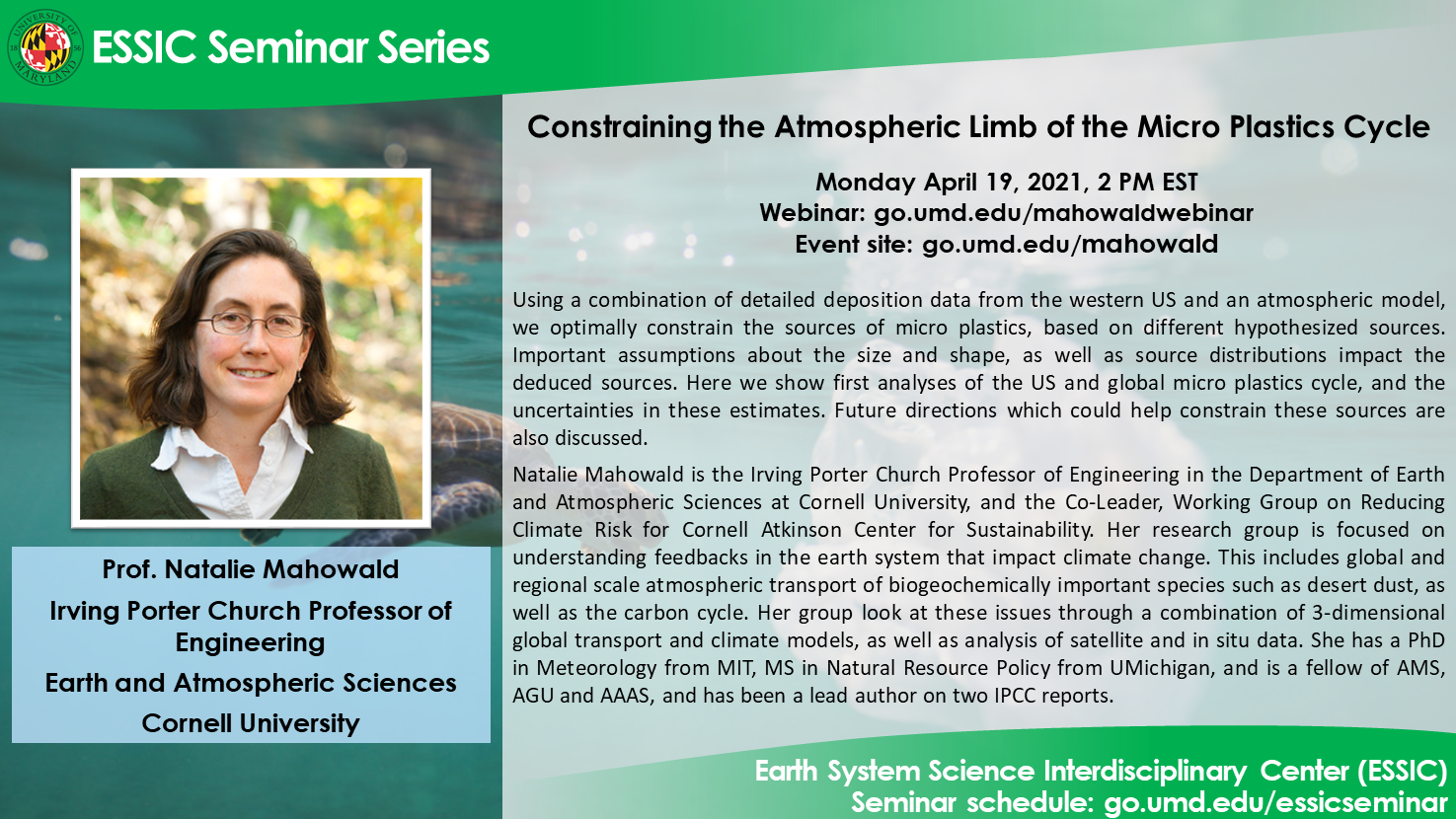 Prof. Natalie Mahowald's seminar flyer. All text is displayed on the webpage.
