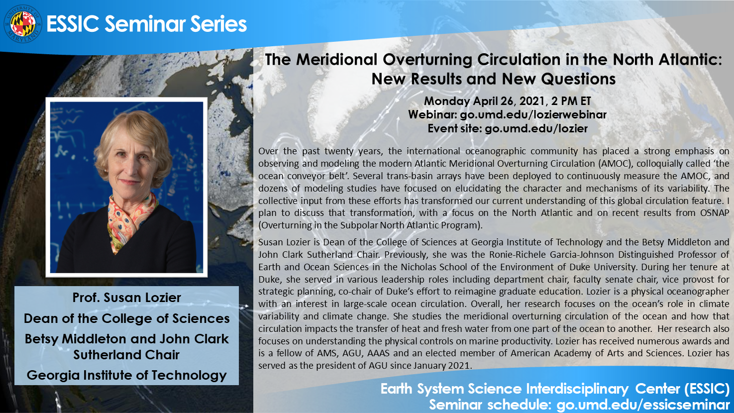 Dr. Lozier's seminar flyer. All text is on the webpage.