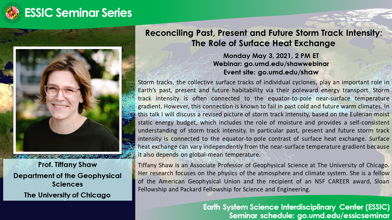 Seminar flyer for Professor Tiffany Shaw