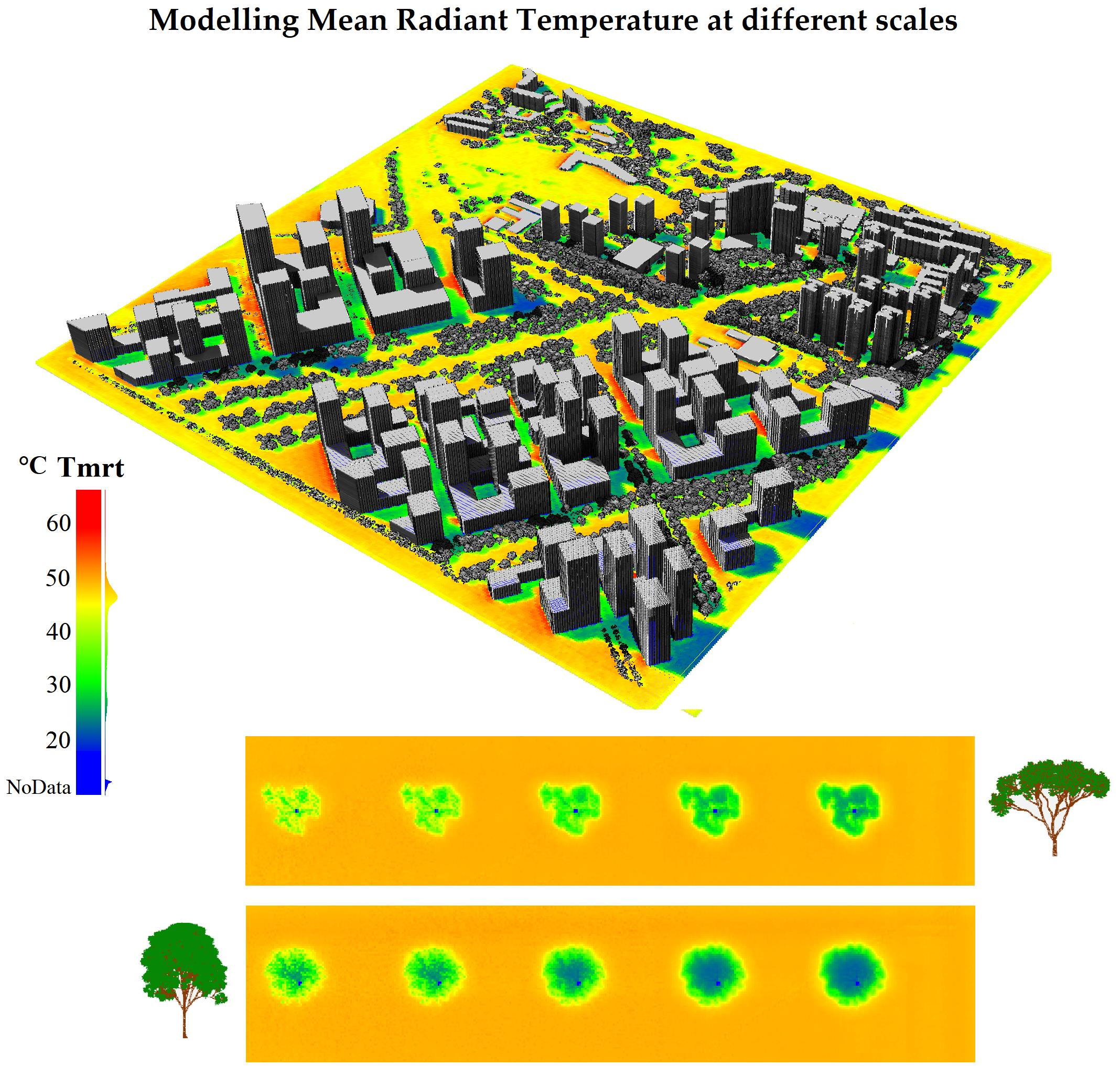 Graphic abstract that demonstrates the modeling mean radiant temperature at different scales