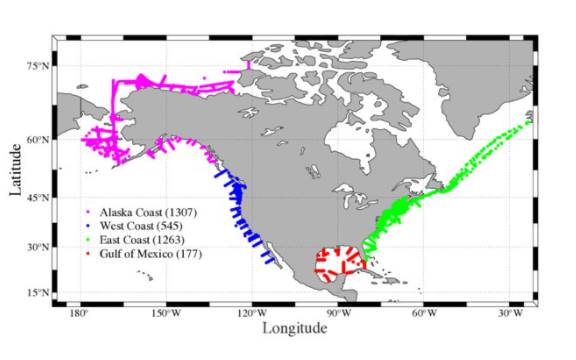 Figure. A map showing all the sampling profiles of the CODAP-NA data product. Numbers within the parentheses indicate the total number of profiles in each region.