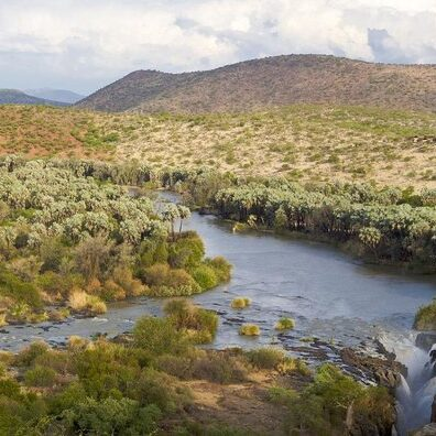 Vast stretches of greenery mark the banks of Kunene River