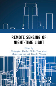 """The book cover, which depicts a blue cityscape and the title, """"Remote Sensing of Night-time Light"""""""