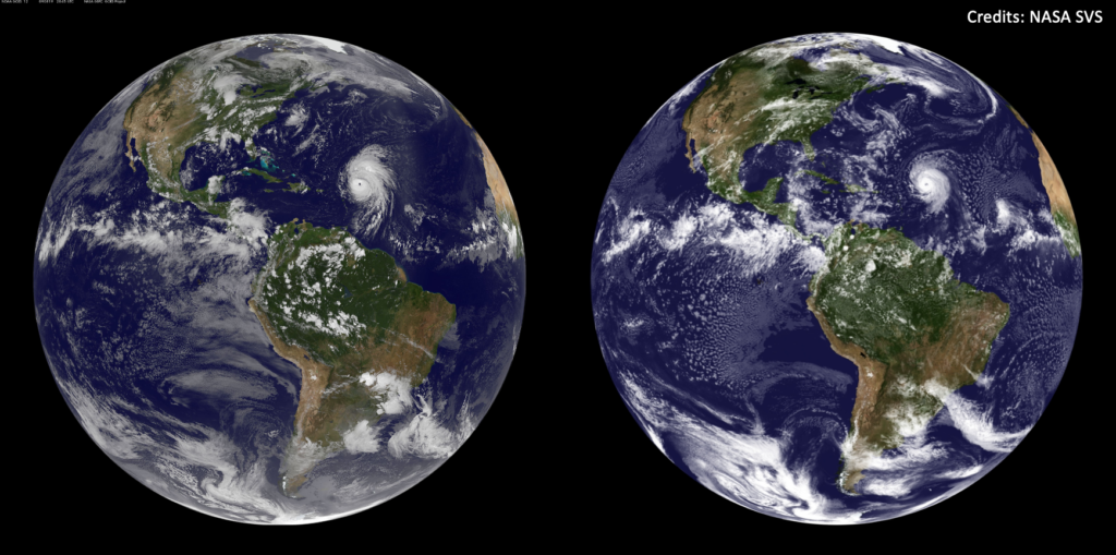 """Two flat images of the Earth, underneath it says """"Abstracts: Requested by August 1, 2021"""