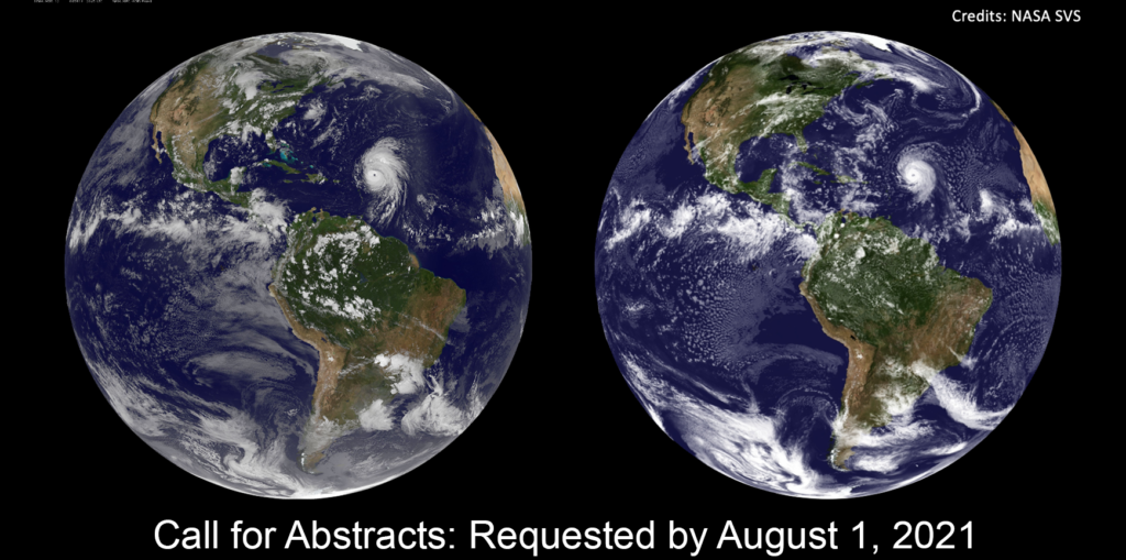 """A flat image of the Earth, underneath it says """"Abstracts: Requested by August 1, 2021"""