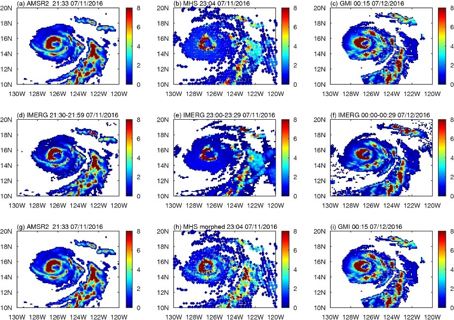 Figure: This is the time sequence of three precipitation fields for hurricane Celia in July 2016, from GPROF for AMSR2, MHS, and GMI (first row), IMERG (second row), and our new method. For IMERG and GPROF, the inner rainbands disappear and then reappear. Our new method can clearly capture the rainbands near the hurricane center after the morphing for MHS (second subplot in the third row)