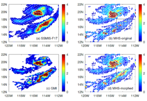 """Figure: This is a precipitation event on 29 August 2020 over the Pacific Ocean near the lower California peninsula. (a) the cross-track radiometer precipitation data, (b) the conical scanning radiometer precipitation data, (c) the reference data for the event, and (d) the """"morphed"""" radiometer precipitation data. The box shows the area of improvement due to morphing."""