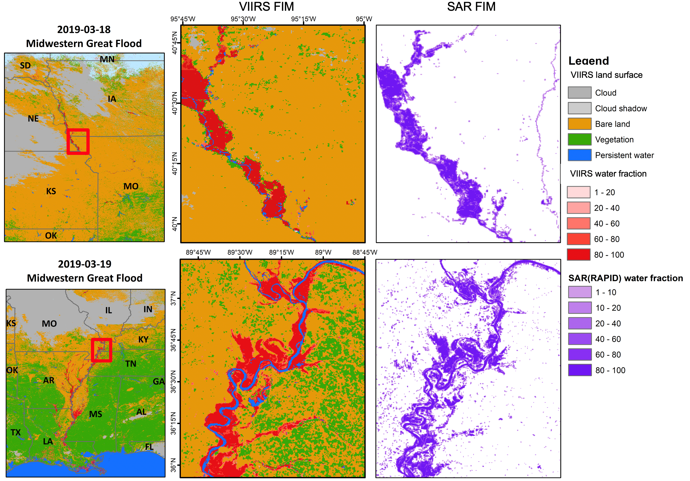 Figure 1. Two comparison examples of VIIRS FIM products and Sentinel-1 SAR FIM products in March during Midwestern Great Flood in 2019 (SAR FIM products are available at https://rapid-nrt-flood-maps.s3.amazonaws.com/).