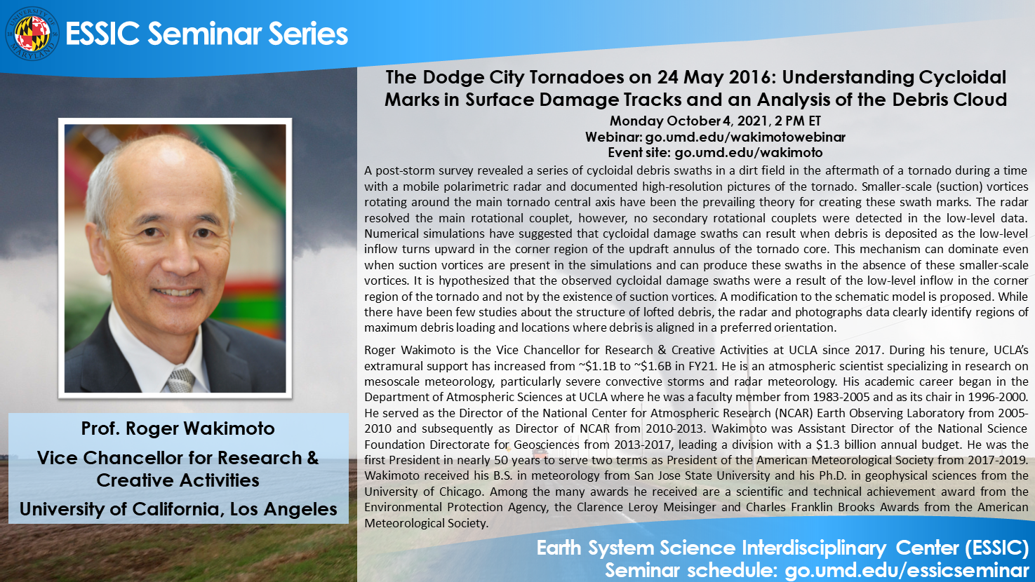 The seminar flyer for Dr. Roger Wakimoto's seminar. All text is printed on the website.