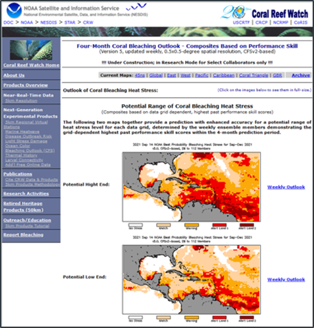 Top panel shows predicted bleaching heat stress ranges for the Caribbean, issued September 14, 2021. Lower panel shows 75th and 50th percentile values of week-of-year (x-axis) and lead-time dependent (y-axis) Heidke Skill Scores among the data grids in the Florida Keys 5km Regional Virtual Station, at the 60% ensemble probability.