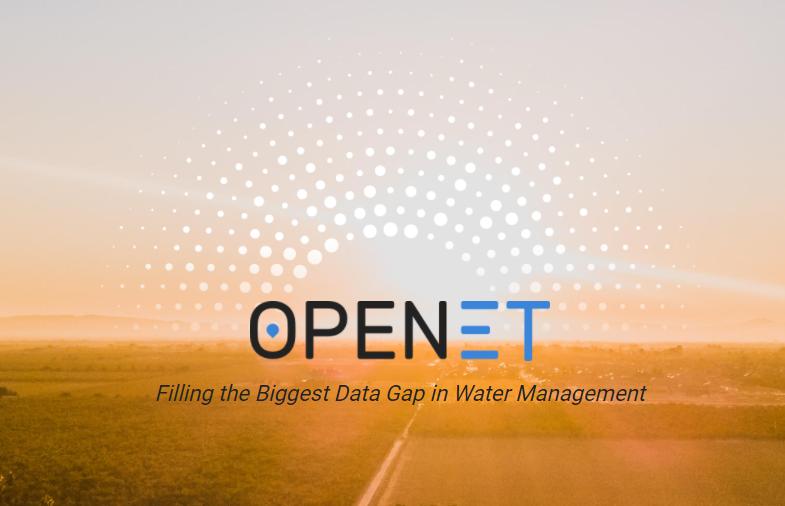 OpenET's logo, a series of white dots in a rising sun pattern over a blurry desert vista