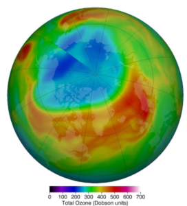 """The Arctic """"ozone hole"""" in March 2020. (NASA)"""